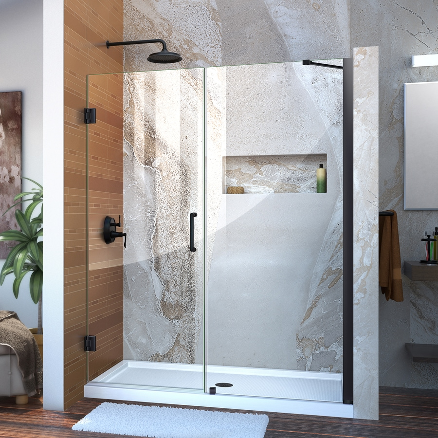 DreamLine Unidoor 58-in to 59-in Frameless Satin Black Hinged Shower Door