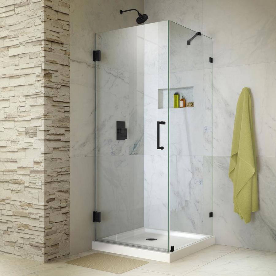 DreamLine Unidoor Lux 30.375-in to 30.375-in W Frameless Satin Black Hinged Shower Door