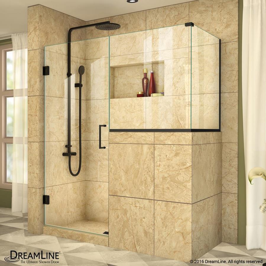 DreamLine Unidoor Plus 35-in to 35-in W Frameless Satin Black Hinged Shower Door