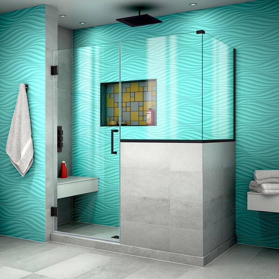 DreamLine Unidoor Plus 59-in to 59-in W Frameless Satin Black Hinged Shower Door