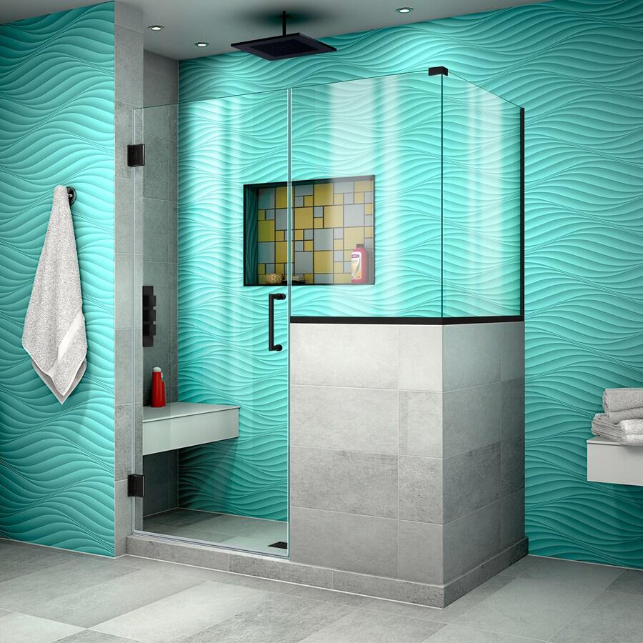 DreamLine Unidoor Plus 48-in to 48-in W Frameless Satin Black Hinged Shower Door