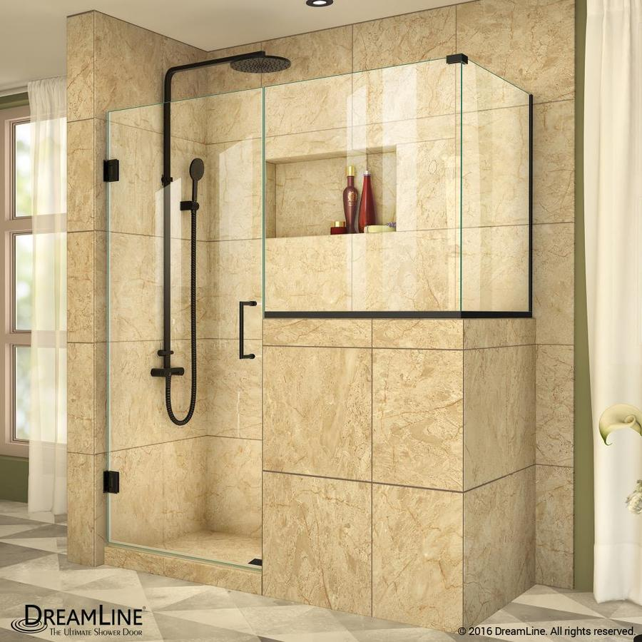 DreamLine Unidoor Plus 48-in to 48-in W Frameless Satin Black Hinged Shower Door