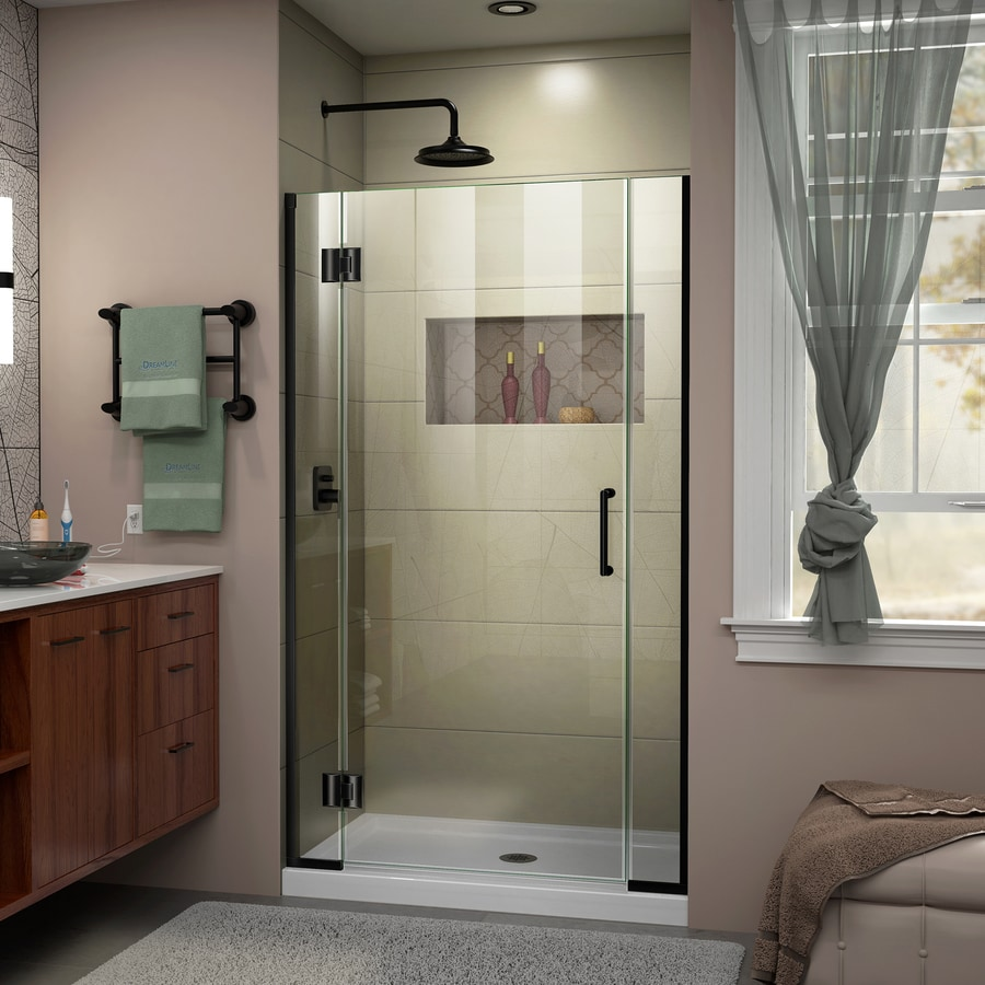 DreamLine Unidoor-X 36-in to 36.5-in W Frameless Satin Black Hinged Shower Door