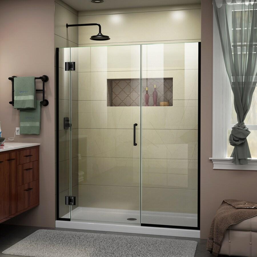 DreamLine Unidoor-X 64-in to 64.5-in W Frameless Satin Black Hinged Shower Door