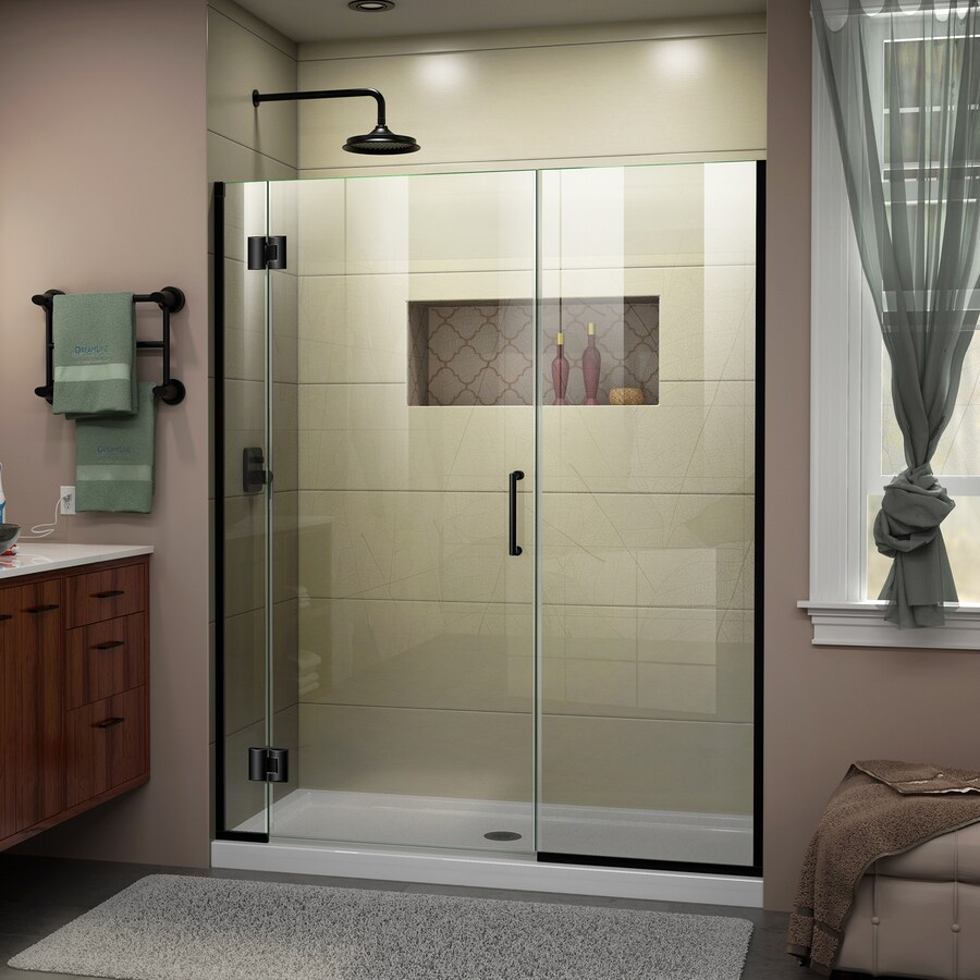 DreamLine Unidoor-X 57-in to 57.5-in W Frameless Satin Black Hinged Shower Door