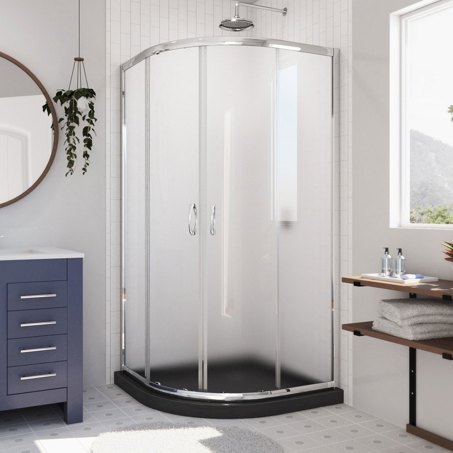 DreamLine Prime Chrome/Black Acrylic Floor Round 2-Piece Corner Shower Kit (Actual: 74.75-in x 38-in x 38-in)