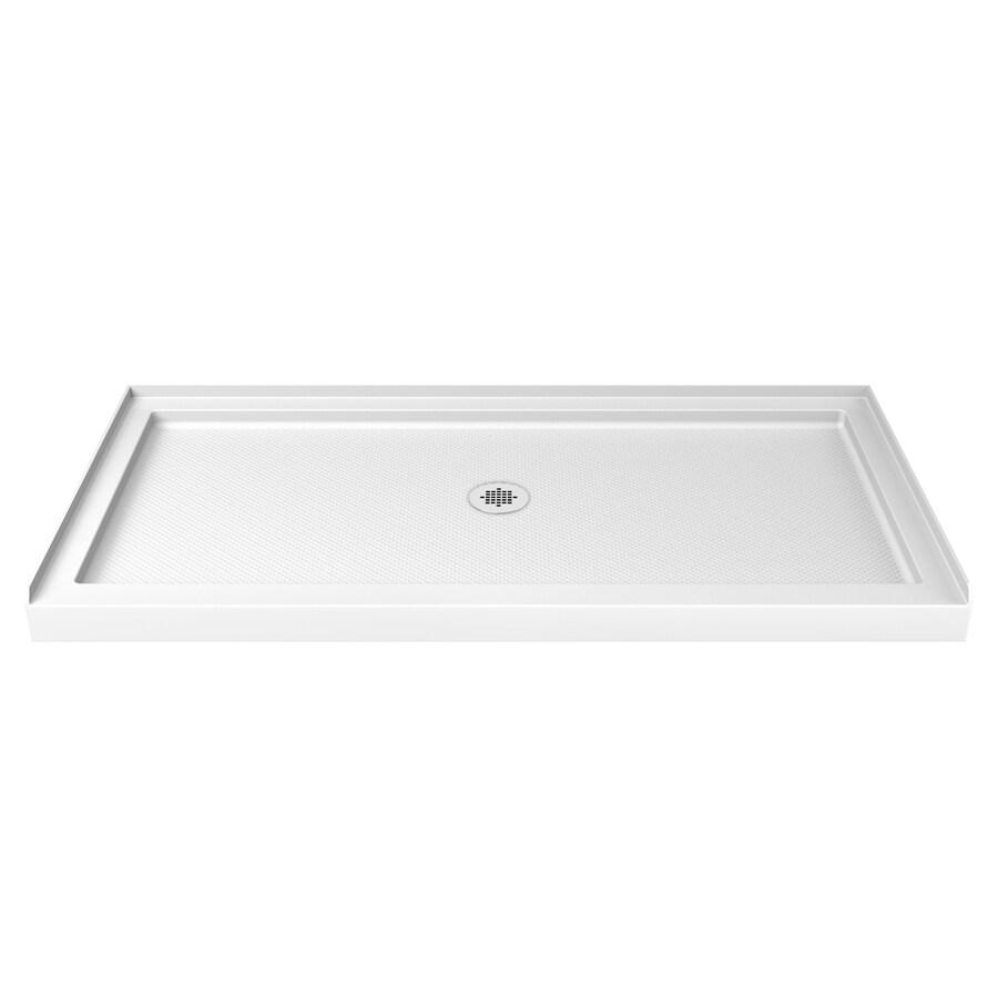 DreamLine SlimLine White Acrylic Shower Base (Common: 32-in W x 54-in L; Actual: 32-in W x 54-in L) with Center Drain