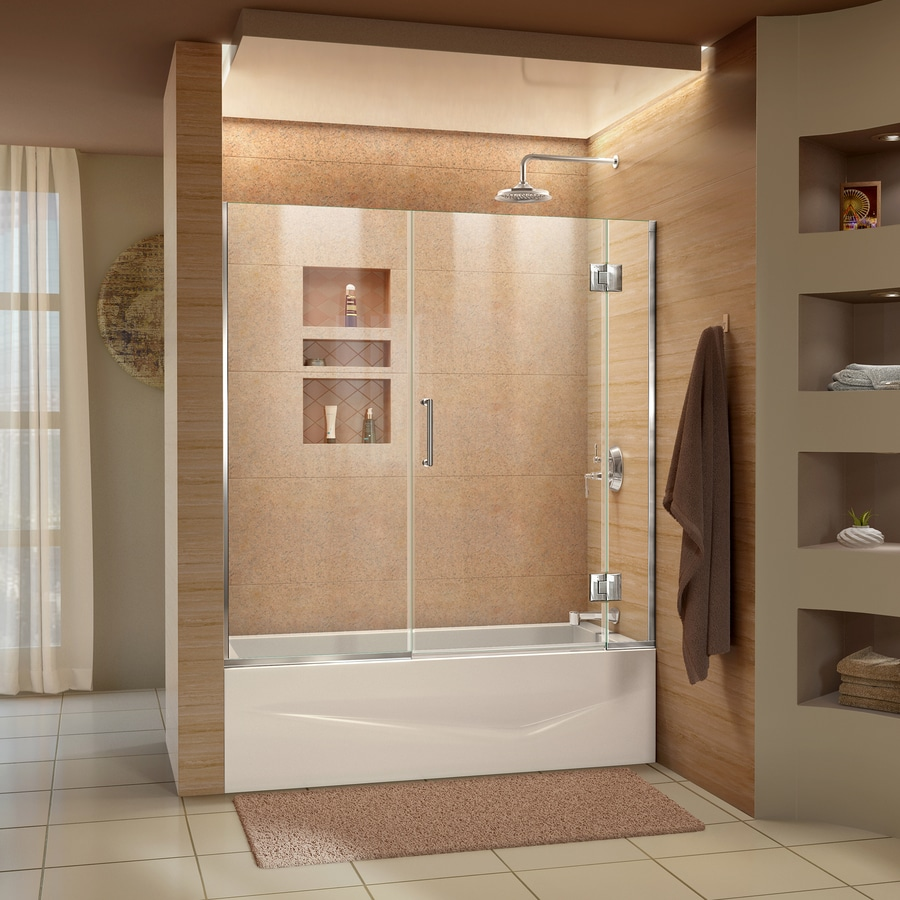 Shop Dreamline Unidoor X 58 5 In W X Bathtub Door At Lowes Com