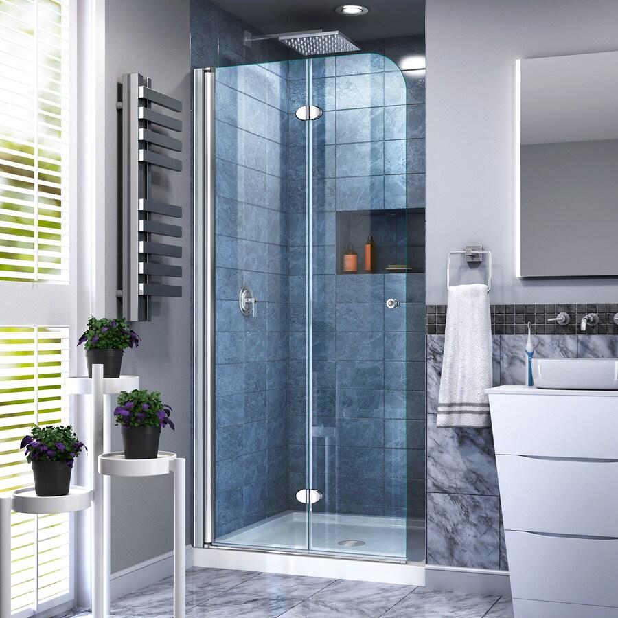 DreamLine Aqua Fold 29.5-in to 29.5-in W Frameless Chrome Hinged Shower Door