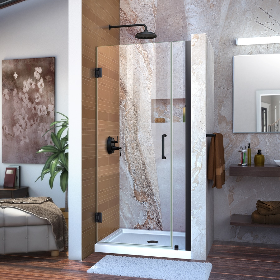 DreamLine Unidoor 30-in to 31-in W Frameless Satin Black Hinged Shower Door