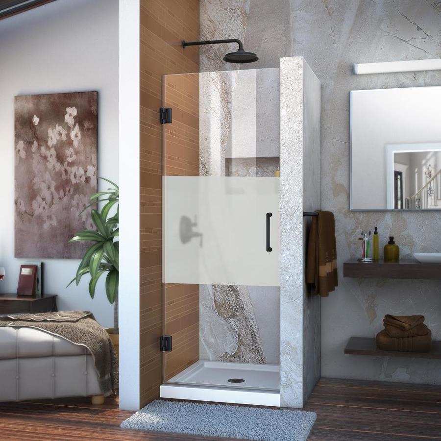 DreamLine Unidoor 28-in to 28-in Frameless Satin Black Hinged Shower Door