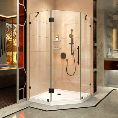 Prism Lux Hardware Oil Rubbed Bronze Base Color White Floor Neo Angle Piece Corner Shower Kit Actual 74 75 In X 36
