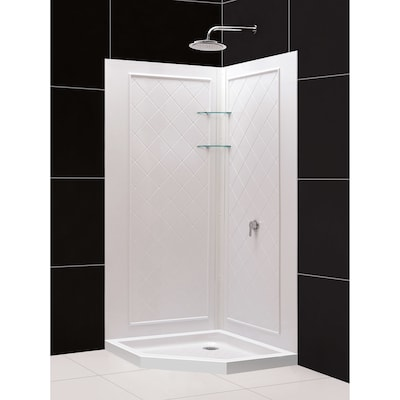 Qwall 4 White Acrylic Wall Floor Neo Angle Piece Corner Shower Kit Actual 76 75 In X 36