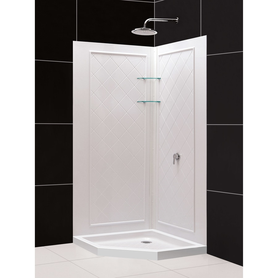 Dreamline Qwall 4 White Wall Acrylic Floor Neo Angle 2 Piece Corner Shower