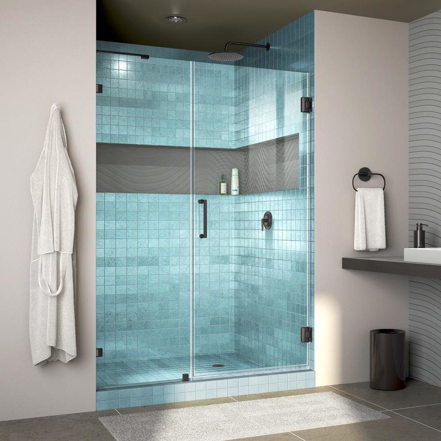 Shop DreamLine Unidoor Lux 48-in W Satin Black Hinged Shower Door at ...