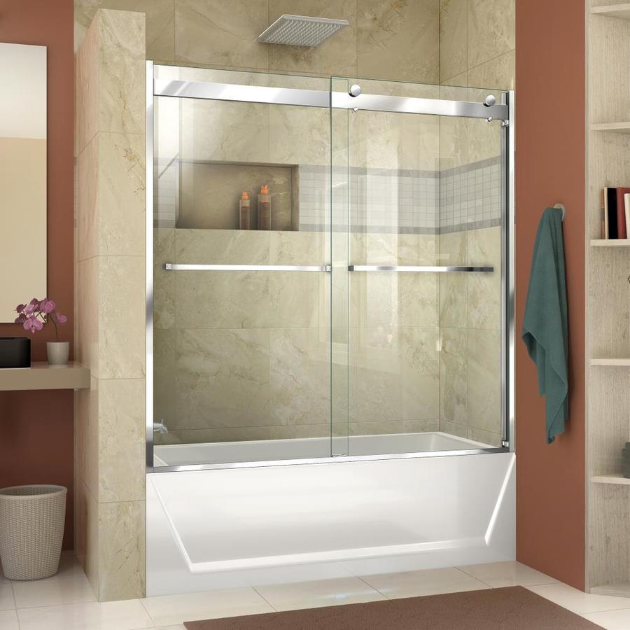 Shop DreamLine Essence-H 56-60-in W x 60-in H Frameless Chrome ...