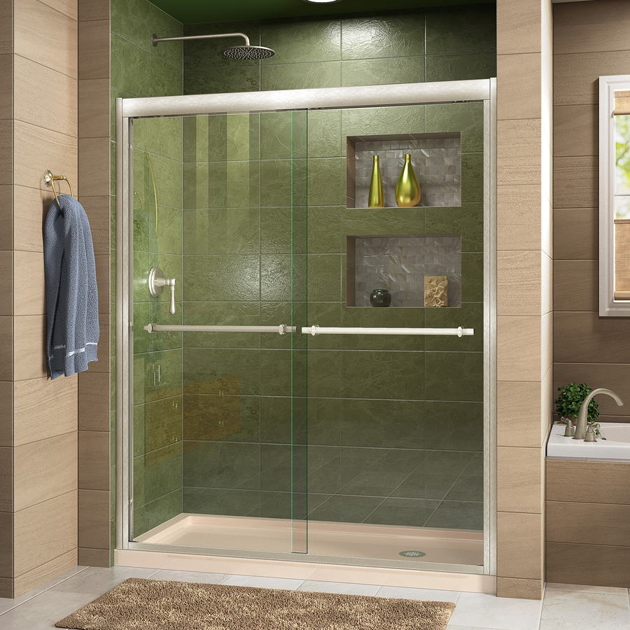 Shop DreamLine Duet Brushed Nickel; Biscuit 2-Piece Alcove Shower ...