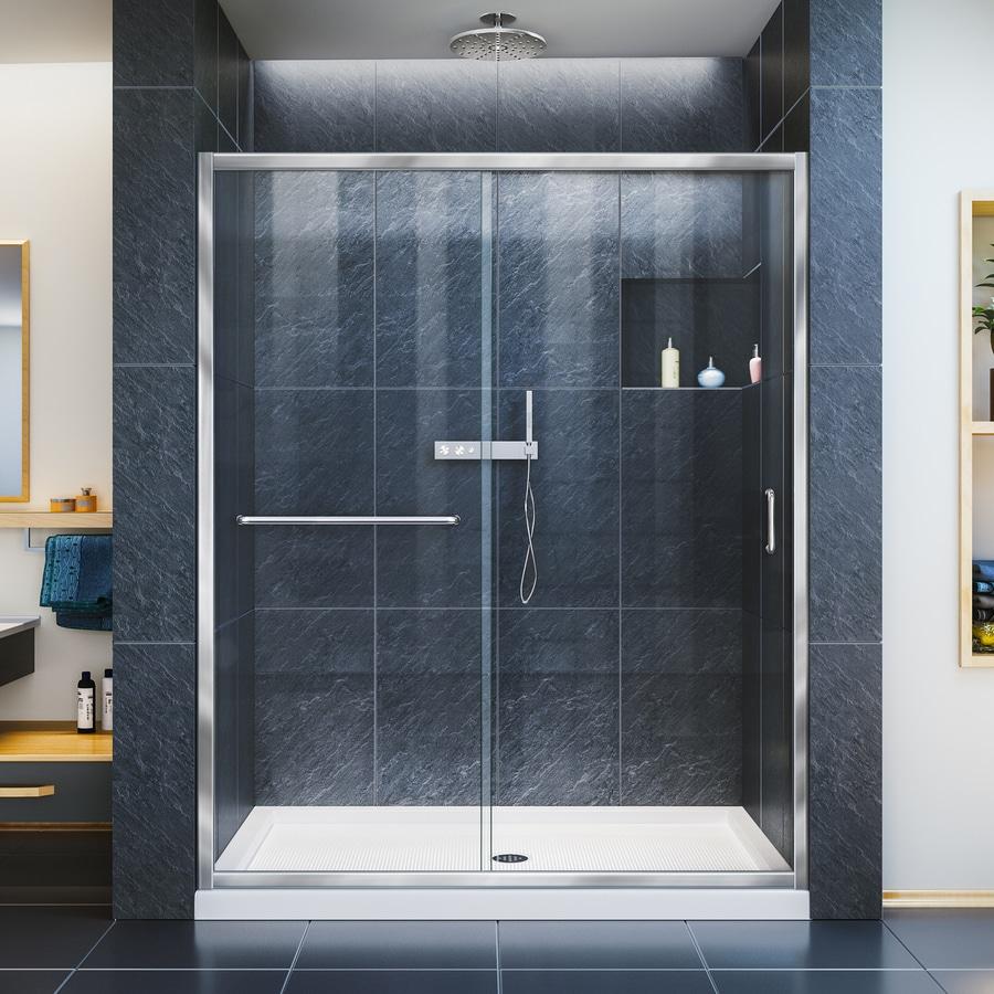 Shop DreamLine Infinity-Z Chrome 2-Piece Alcove Shower Kit (Common ...