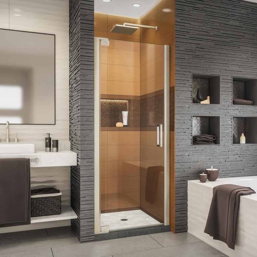 Shop DreamLine Elegance-LS 34-in to 36-in W Frameless Brushed Nickel ...