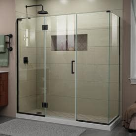 DreamLine Unidoor-X 69 1/2 in. W x 30 3/8 in. D x 72 in. H Frameless Hinged Shower Enclosure in Satin Black
