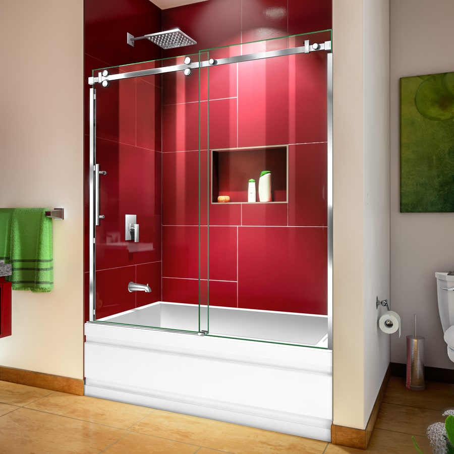 Dreamline Enigma Sky 56 In To 60 In W Frameless Polished Stainless Steel Bypass Sliding Bathtub