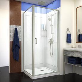 Dreamline Flex Brushed Nickel Acrylic Wall Square 3 Piece Corner Shower Kit Actual