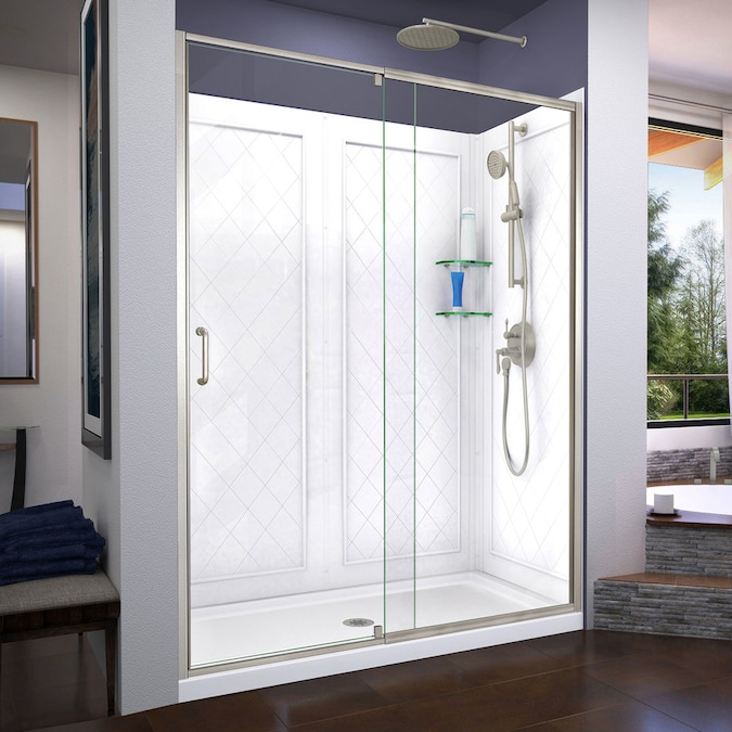 Dreamline Flex Brushed Nickel 3 Piece 60 In X 34 In X 77 In Alcove Shower Kit In The Alcove Shower Kits Department At Lowes Com