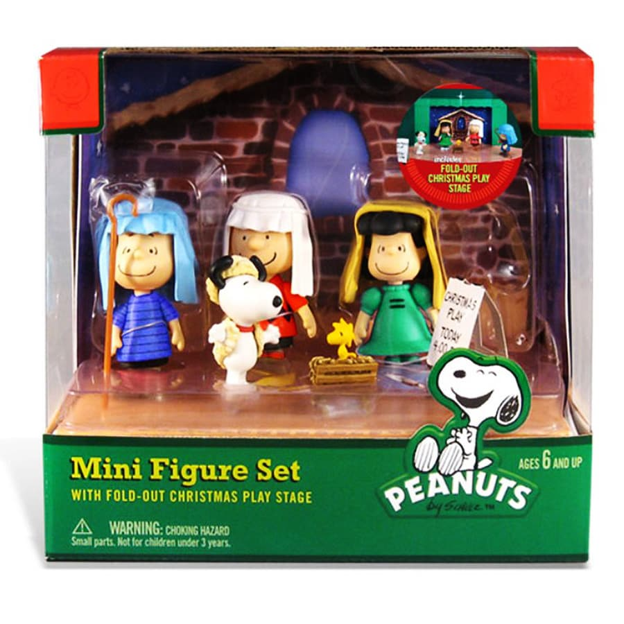 Peanuts Plastic Mini Figure Set Christmas Collectible