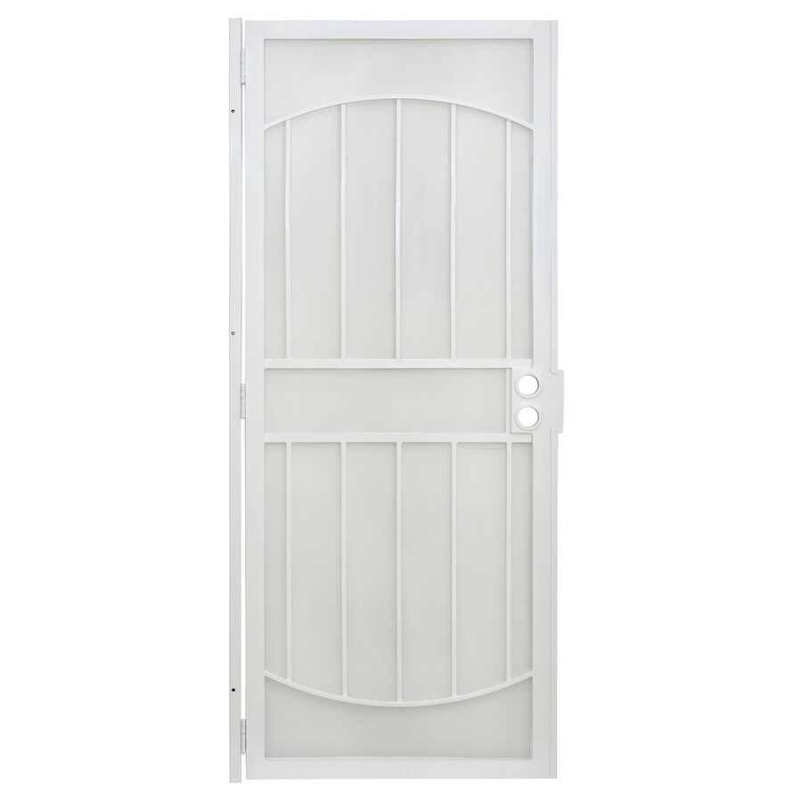 Gatehouse Gibraltar White Steel Security Door (Common: 32-in x 80-in; Actual: 35-in x 81-in)