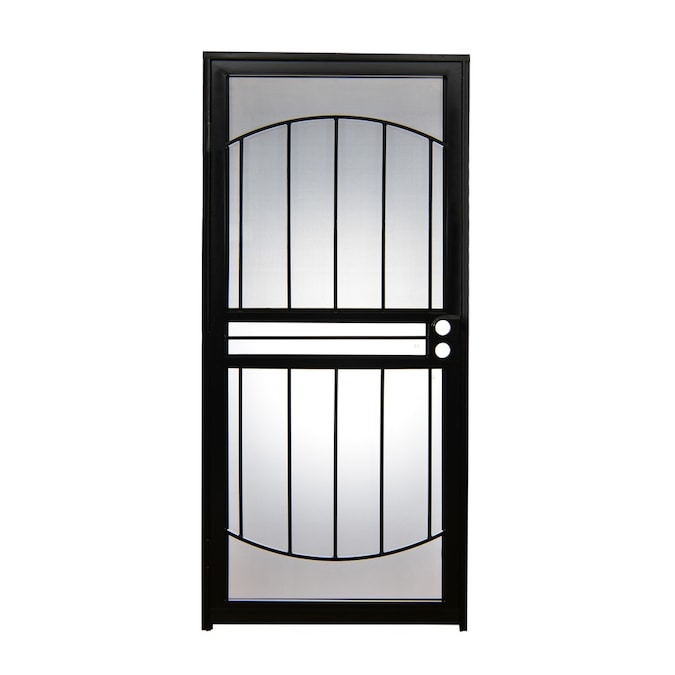 Gatehouse Geneva 32 In X 80 In Black Steel Recessed Mount Security Door In The Security Doors Department At Lowes Com Stylish back door featuring innovative reflective glass neatly enclosed between narrow white polished frames. gatehouse geneva 32 in x 80 in black steel recessed mount security door