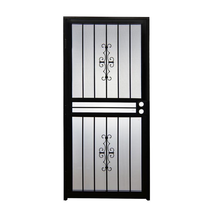 Gatehouse Resolute Black Mid-View Steel Standard Storm Door (Common: 30-in x 80-in; Actual: 29-in x 78.5-in)