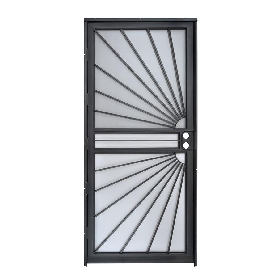 Gatehouse Black Steel Recessed Mount Single Security Door (Common: 36-in x 80-in; Actual: 35-in x 78.5-in)
