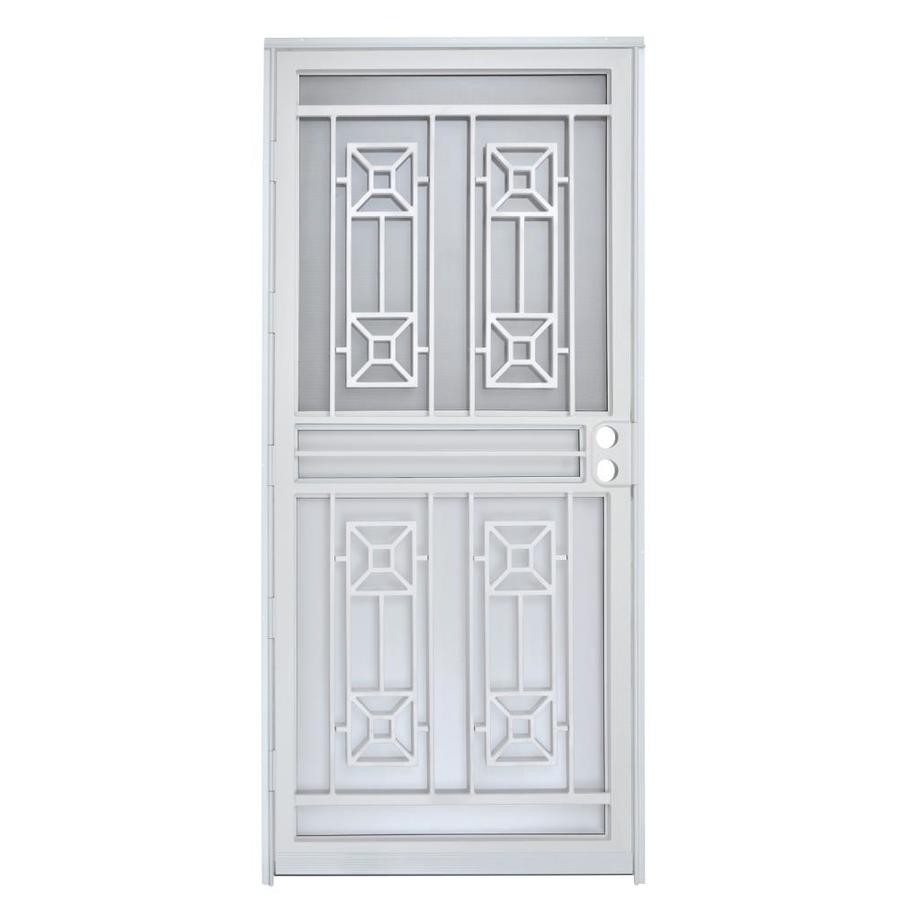 Gatehouse Matrix White Mid-View Steel Storm Door with Blinds Between The Glass (Common: 32-in x 80-in; Actual: 31-in x 78.5-in)
