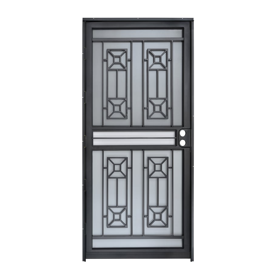 Gatehouse Matrix Black Mid-View Steel Storm Door with Blinds Between The Glass (Common: 32-in x 80-in; Actual: 31-in x 78.5-in)