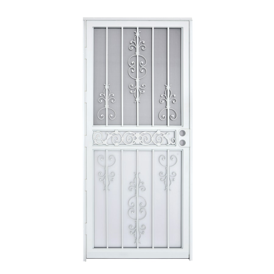 Gatehouse Garden View White Steel Recessed Mount Single Door Security Door  (Common: 36