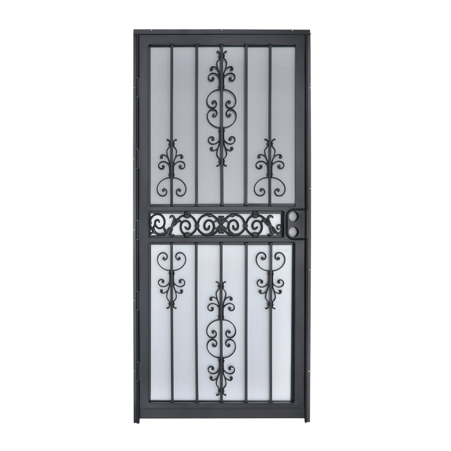 Lowe S Security Storm Doors : Shop gatehouse garden view black steel recessed mount