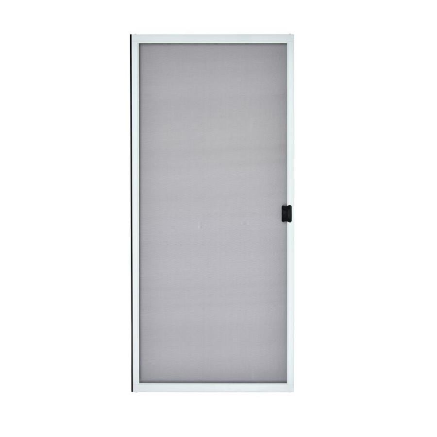 Shop grisham white steel sliding curtain screen door for 30 inch storm door