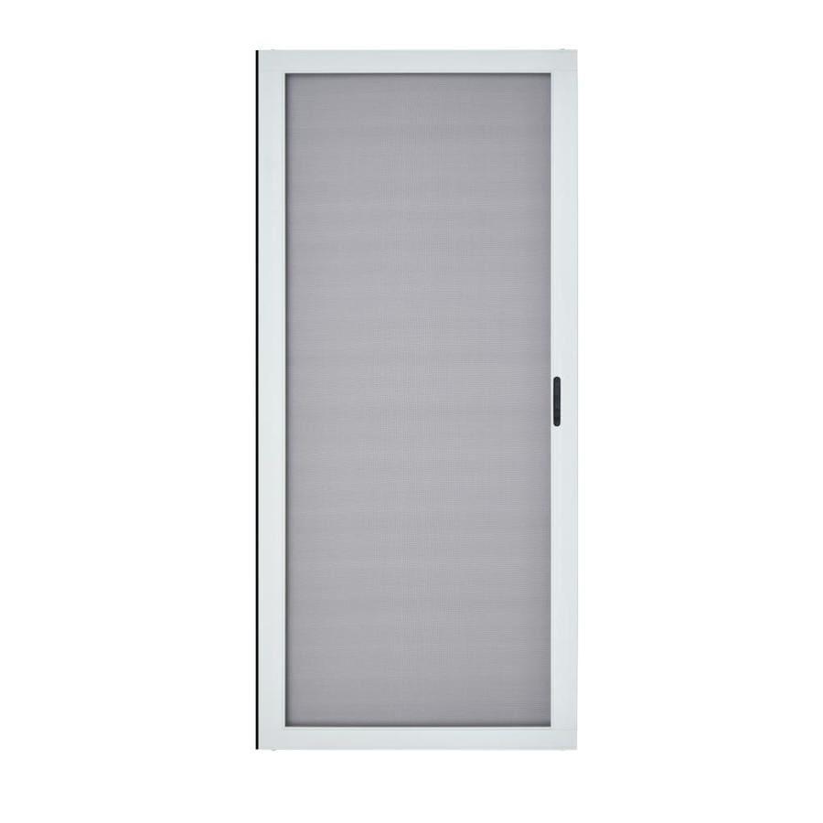Grisham White Aluminum Sliding Curtain Screen Door Common