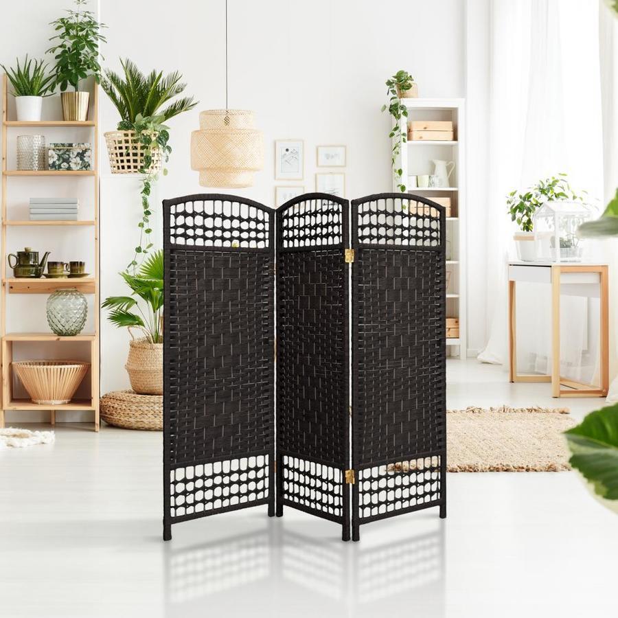 Black Oriental Furniture Woven Fiber Low Room Divider-48 Inch