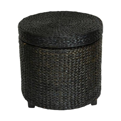 Marvelous Oriental Furniture Coastal Black Round Storage Ottoman At Squirreltailoven Fun Painted Chair Ideas Images Squirreltailovenorg