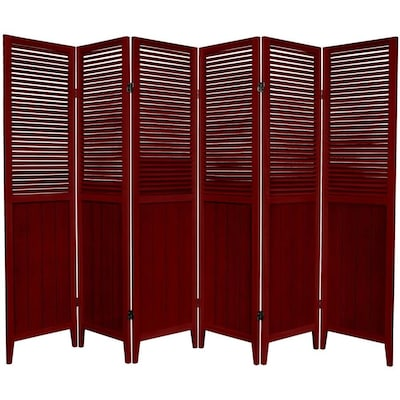 Red Lantern 6-Panel Rosewood Wood Folding Indoor Privacy