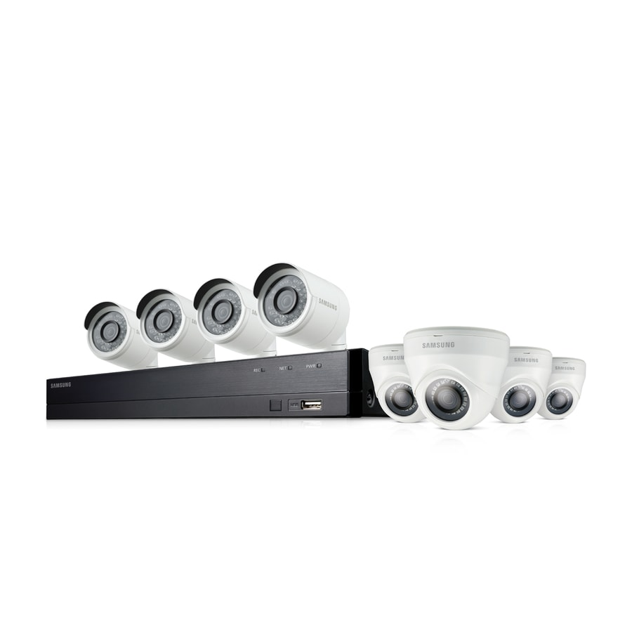 Samsung Wisenet HD Security System Analog Wired Outdoor 8 Security Camera Kit with Night Vision