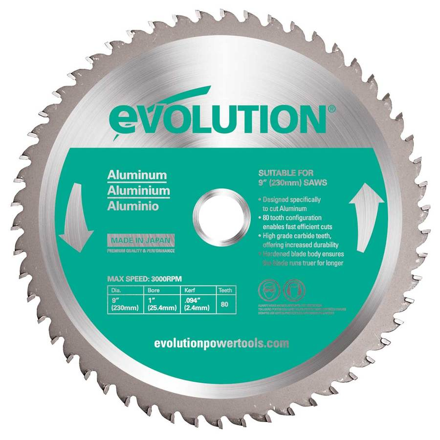 Evolution 9-in 80-Tooth Dry Standard Tungsten Carbide-Tipped Steel Circular Saw Blade