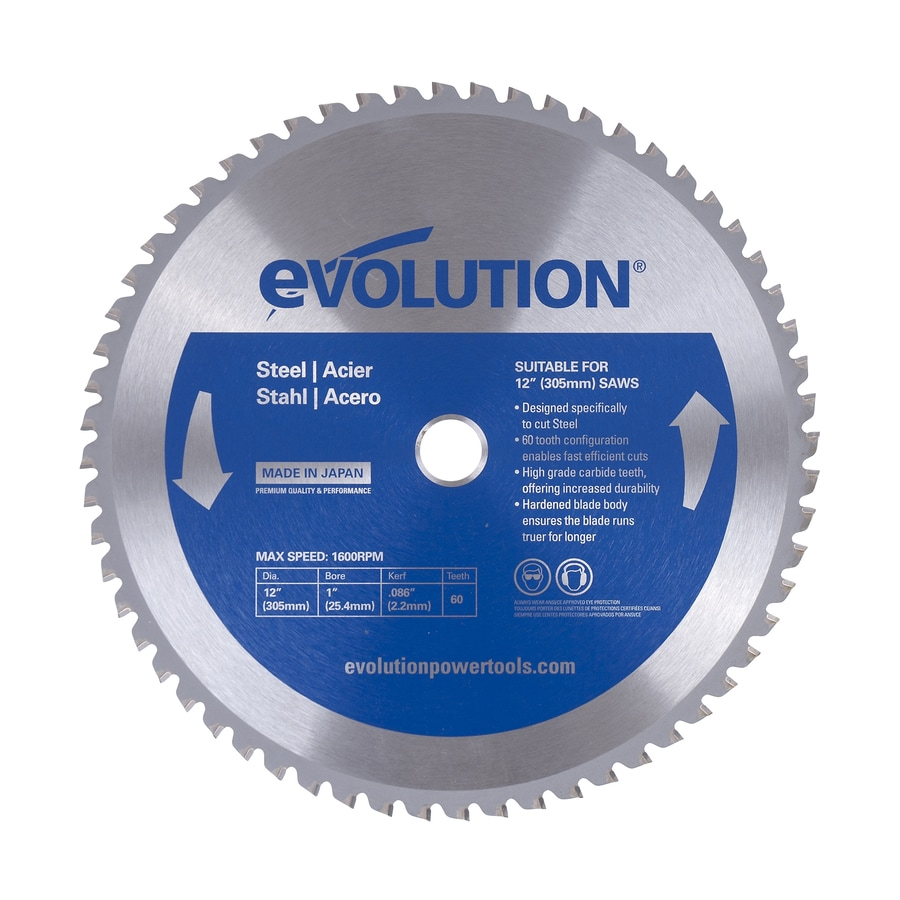 Evolution 12-in 60-Tooth Dry Standard Tooth Tungsten Carbide-Tipped Steel Circular Saw Blade