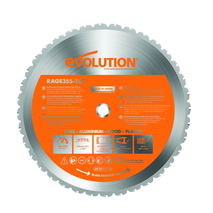 Shop circular saw blades at lowes evolution 14 in 36 tooth tungsten carbide tipped steel circular saw blade greentooth Choice Image
