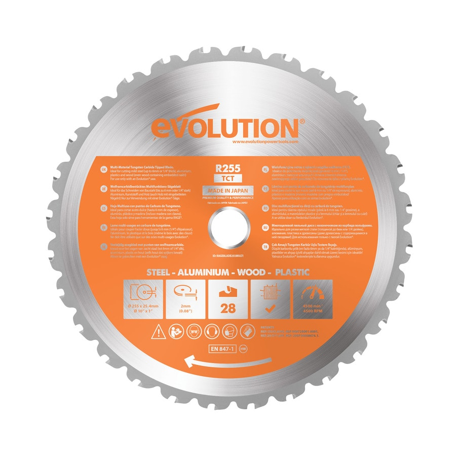 Evolution 10-in 28-Tooth Dry Standard Tungsten Carbide-Tipped Steel Circular Saw Blade