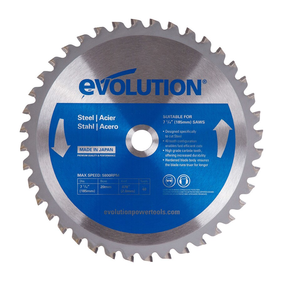 Evolution 7-1/4-in 40-Tooth Dry Standard Tungsten Carbide-Tipped Steel Circular Saw Blade
