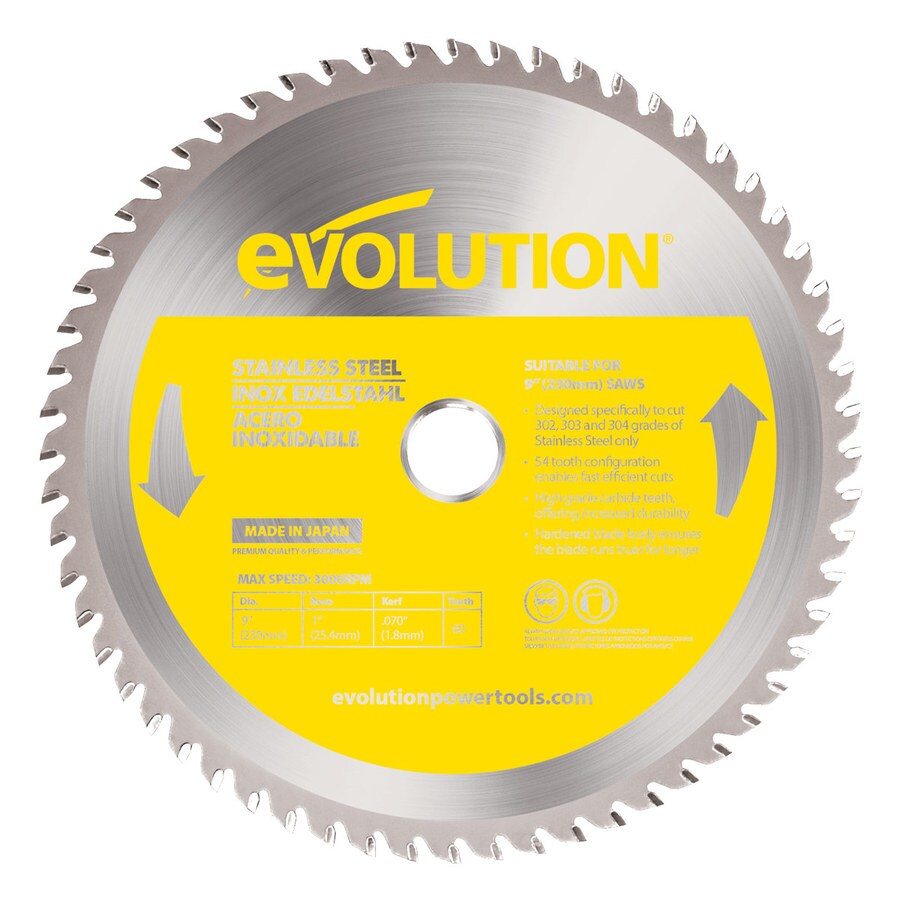 Evolution 9-in 60-Tooth Dry Standard Tungsten Carbide-Tipped Steel Circular Saw Blade