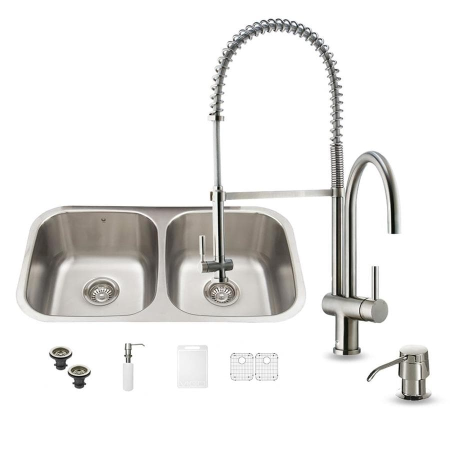 VIGO 32.25-in x 18.5-in Double-Basin Stainless Steel Undermount Commercial/Residential Kitchen Sink All-In-One Kit