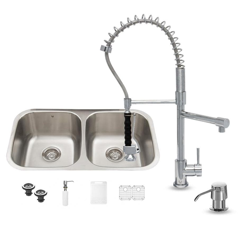 VIGO 32.25-in x 18.5-in Premium Satin Double-Basin Stainless Steel Undermount Commercial/Residential Kitchen Sink All-In-One Kit